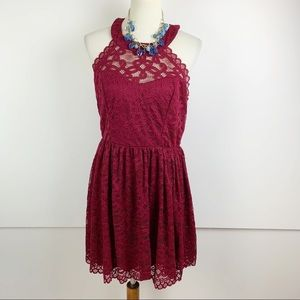 Altar'd State Red Lace Keyhole Skater Dress B1646
